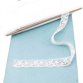 Puntilla de nylon blanca con encaje de flores y anchura 17 milímetros