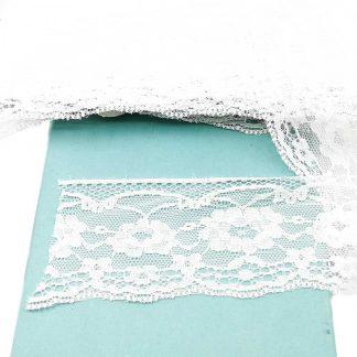Puntilla de nylon blanca con encaje de flores y anchura 60 milímetros