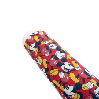 Tela popelín Mickey Mouse de color rojo en algodón orgánico certificado GOTS