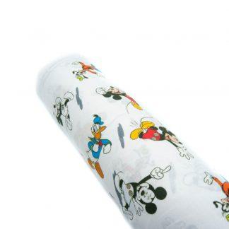 Tela popelín Mickey Mouse, Donald, Pluto y Goofy en algodón orgánico certificado GOTS