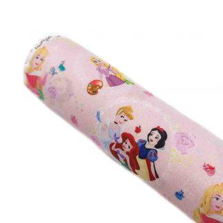 Tela de popelín con estampado de las Princesas Disney sobre fondo rosa
