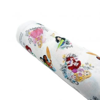 Tela popelín Princesas Disney en algodón orgánico certificado GOTS