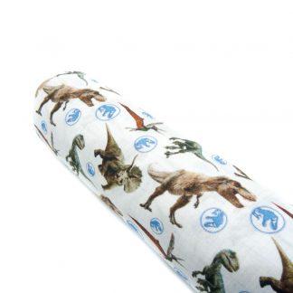 Tela popelín Jurassic Park en algodón orgánico certificado GOTS