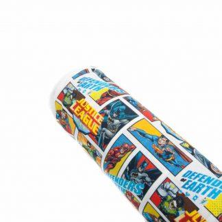 Tela popelín Justice League Defenders Earth en algodón orgánico certificado GOTS