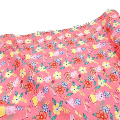 Tela popelín Peppa Pig Flores Summer en algodón orgánico certificado GOTS