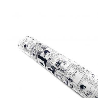 Tela de popelín con estampado de cómic en blanco y negro de Mafalda en algodón orgánico certificado GOTS