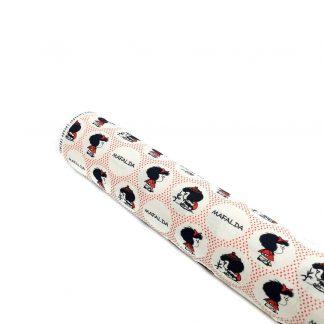 Tela de popelín de algodón orgánico GOTS con estampado de Mafalda y círculos rojos