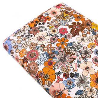 Tela viyela estampada con flores otoñales de colores