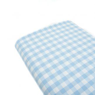 Tela cuadro vichy 100% algodón en color azul bebé