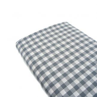 Tela cuadro vichy 100% algodón en color gris perla