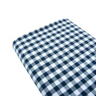 Tela cuadro vichy 100% algodón en color azul marino