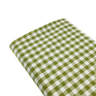 Tela cuadro vichy 100% algodón en color verde seco
