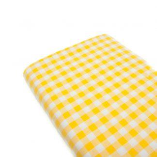 Tela cuadro vichy 100% algodón en color amarillo