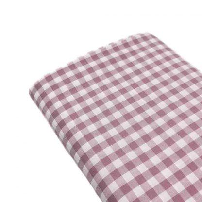 Tela cuadro vichy 100% algodón en color malva