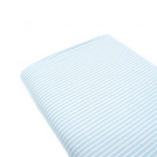 Tela raya vichy 100% algodón en color azul bebé
