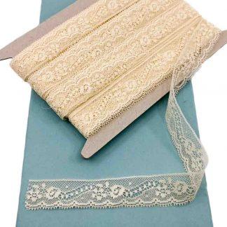 Puntilla Valencienne 100% algodón en color beige de ancho 20 milímetros