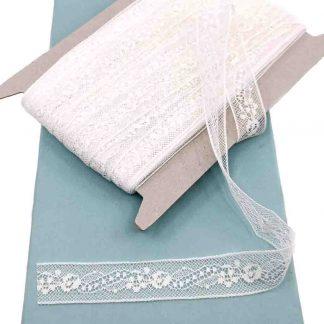Entredós Valencienne 100% algodón en color blanco de ancho 20 milímetros