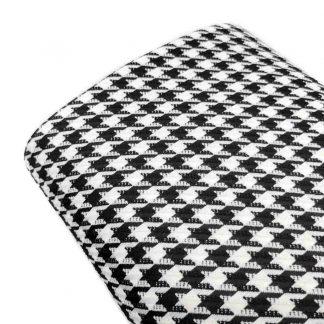 Tela de pata de gallo en color blanco y negro de tamaño 10 mm.