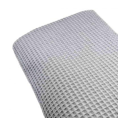 Tela waffle de algodón 100% en color gris perla