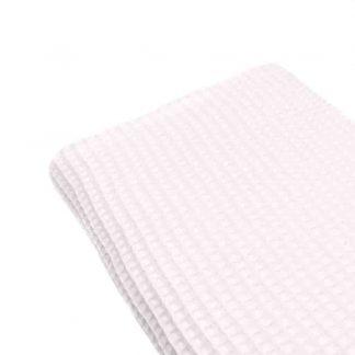 Tela waffle de algodón 100% en color blanco