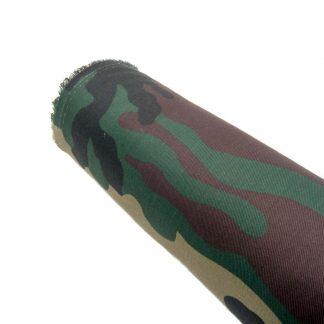Tela de sarga con estampado de camuflaje militar clásico color verde selva