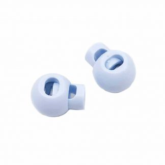 Cierre para cordón con forma de bola en color azul celeste