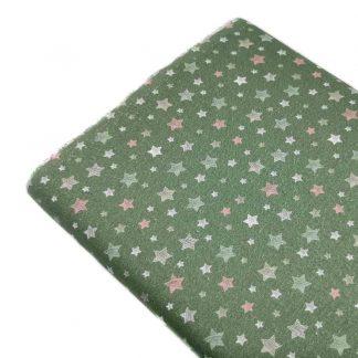 Tela popelín de algodón orgánico certificado GOTS con estampado de estrellas rayadas de colores