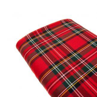 Tela viyela de cuadros escoceses de tamaño grande y color rojo