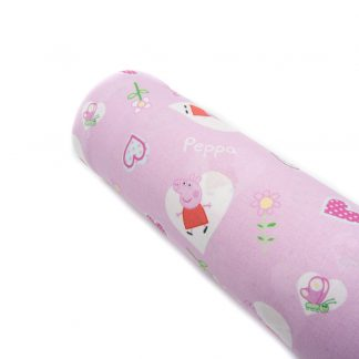 Tela popelín Peppa Pig rosa en algodón orgánico certificado GOTS