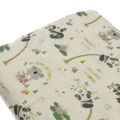 Tela de popelín de algodón orgánico certificado GOTS con estampado de koalas y pandas