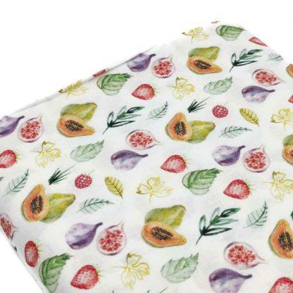 Tela de popelín de algodón orgánico certificado GOTS con estampado de frutas tropicales