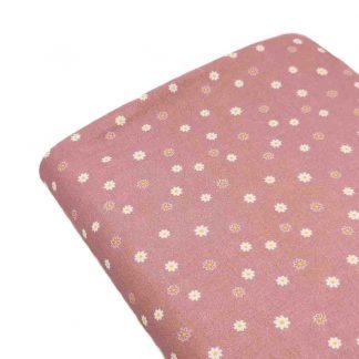 Tela de popelín de algodón orgánico estampado con florecitas sobre fondo rosa palo