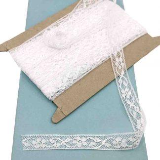 Entredós Valencienne 100% algodón en color blanco de ancho 15 milímetros