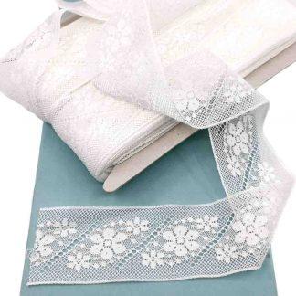 Entredós Valencienne 100% algodón en color blanco de ancho 40 milímetros