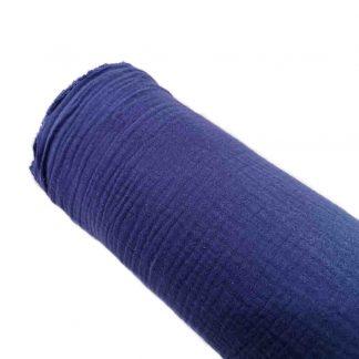 Tela muselina doble gasa algodón en color azul marino