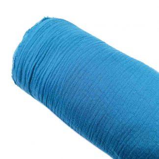Tela muselina doble gasa algodón en color azul azafata