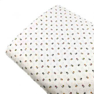 Tela viyela de algodón orgánico GOTS con estampado de flores tamaño liberty de colores sobre fondo blanco