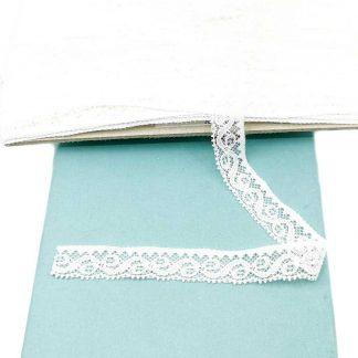 Puntilla de nylon blanca con encaje de ondas y anchura 17 milímetros