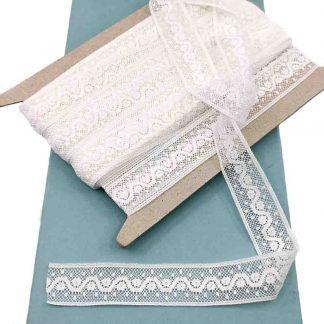 Entredós Valencienne 100% algodón en color blanco de ancho 22 milímetros