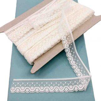 Entredós Valencienne 100% algodón en color crudo de ancho 22 milímetros