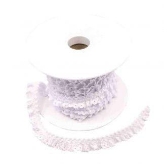Puntilla de encaje plisado en color blanco de ancho 15 milímetros