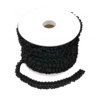 Puntilla de encaje plisado en color negro de ancho 15 milímetros