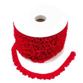 Puntilla de encaje plisado en color rojo de ancho 15 milímetros
