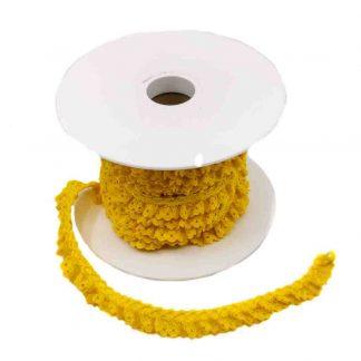 Puntilla de encaje plisado en color amarillo de ancho 15 milímetros