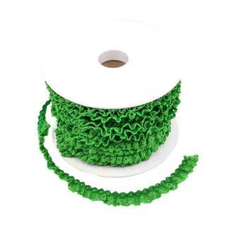 Puntilla de encaje plisado en color verde hierba de ancho 15 milímetros