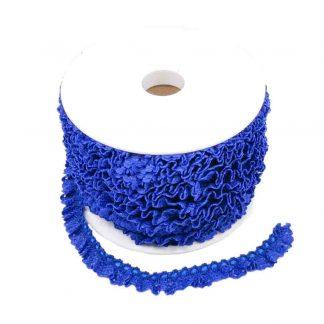 Puntilla de encaje plisado en color azulón de ancho 15 milímetros