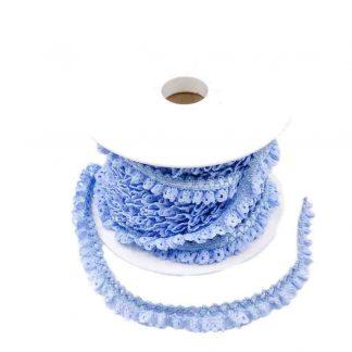 Puntilla de encaje plisado en color azulado de ancho 15 milímetros