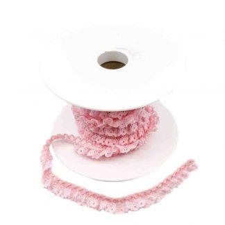 Puntilla de encaje plisado en color rosa de ancho 15 milímetros