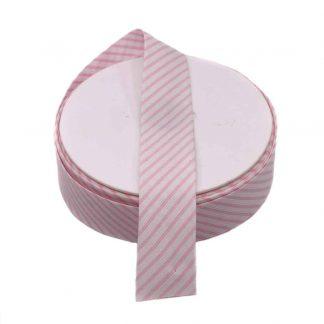Cinta al biés de piqué con estampado de rayas en color rosa de 30 milímetros de ancho
