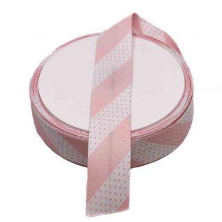Cinta al biés de piqué con estampado de topos y rayas en color rosa de 30 milímetros de ancho